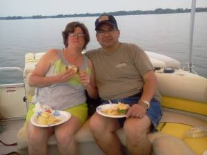 A picnic lunch on my parent's boat this summer 2014