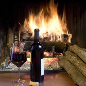 celebrate with a glass of wine a bottle in front of a fireplace